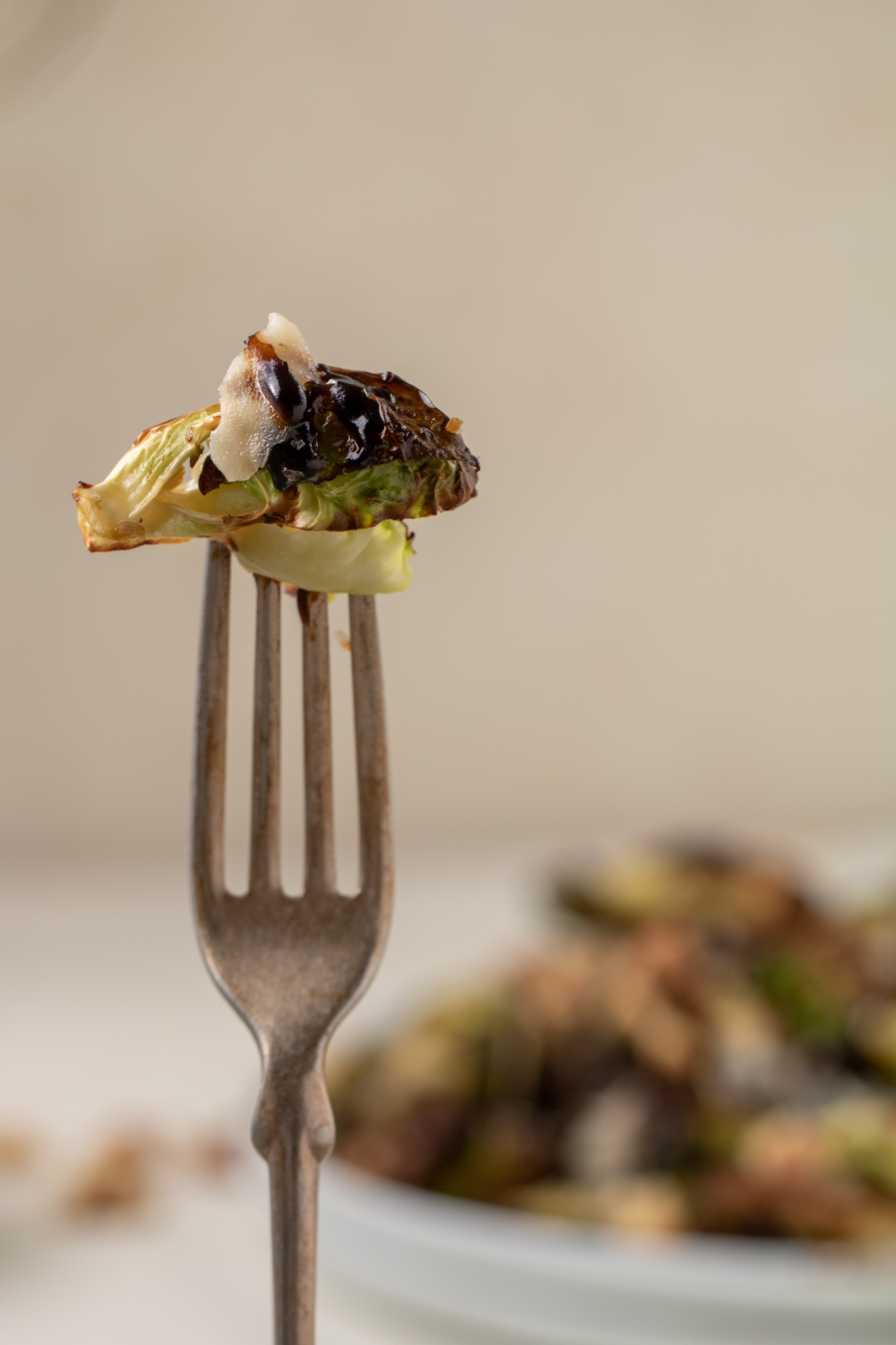 Close up of a fork with air fryer Brussel sprouts