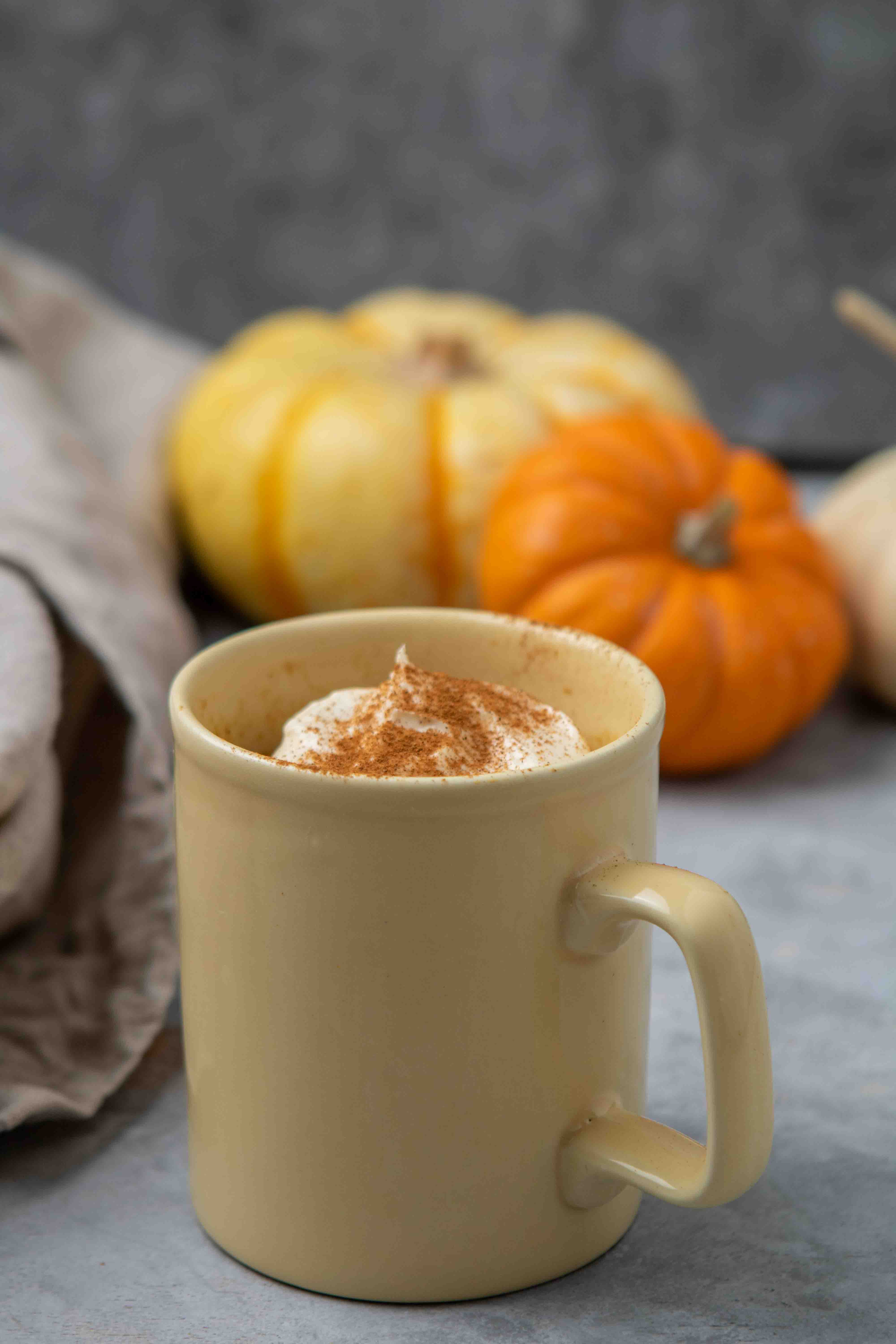Pumpkin cake in a yellow mug