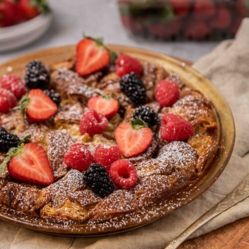 Croissant french toast with berries on top
