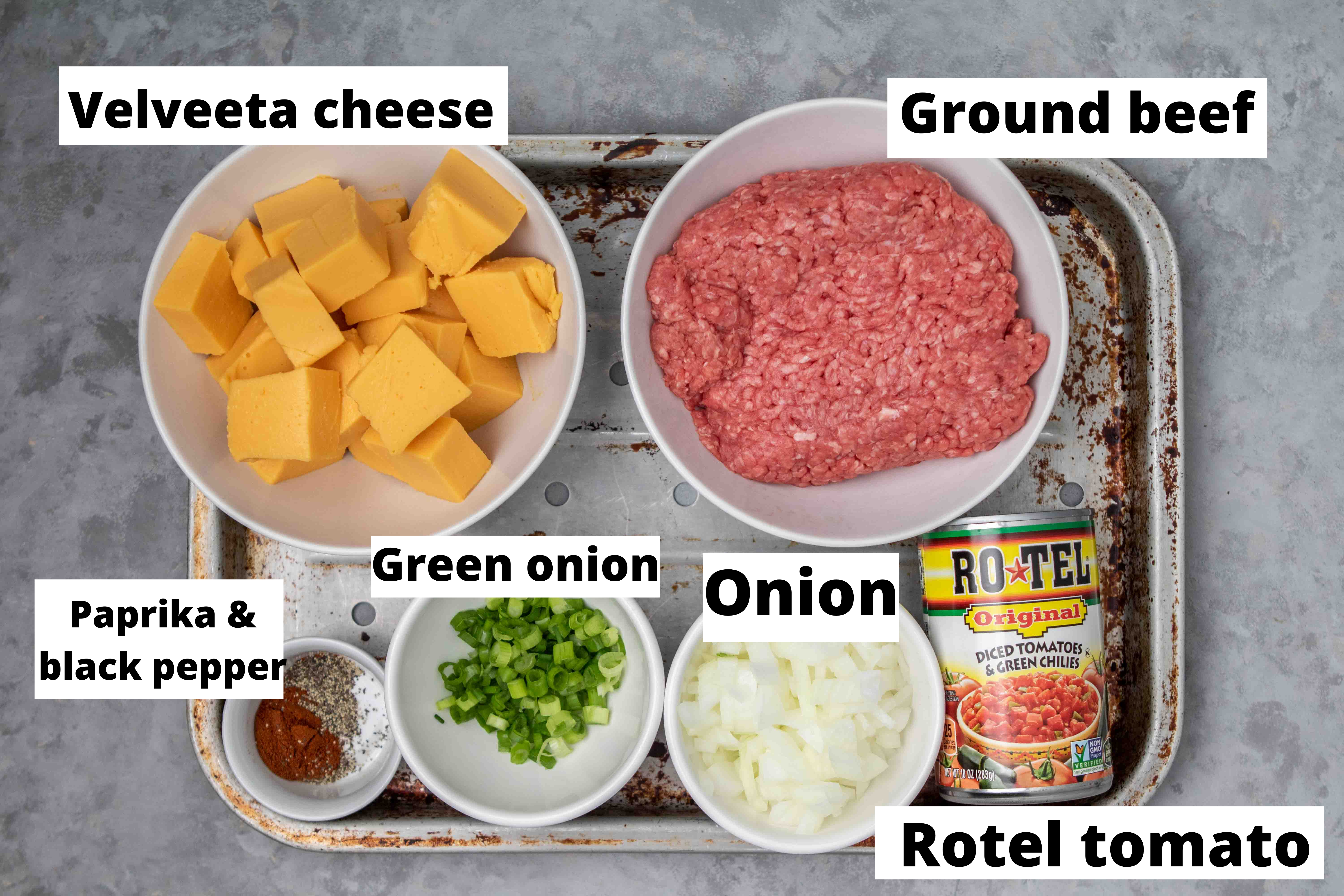 Ingredients for Rotel dip