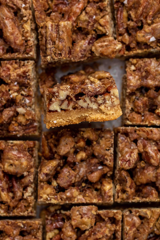 Close up shot of pecan pie bars