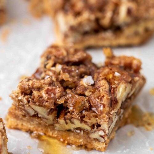 Pecan pie square close up