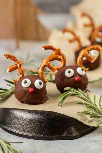 Close up Reindeer Peanut Butter Balls with Rice Krispies