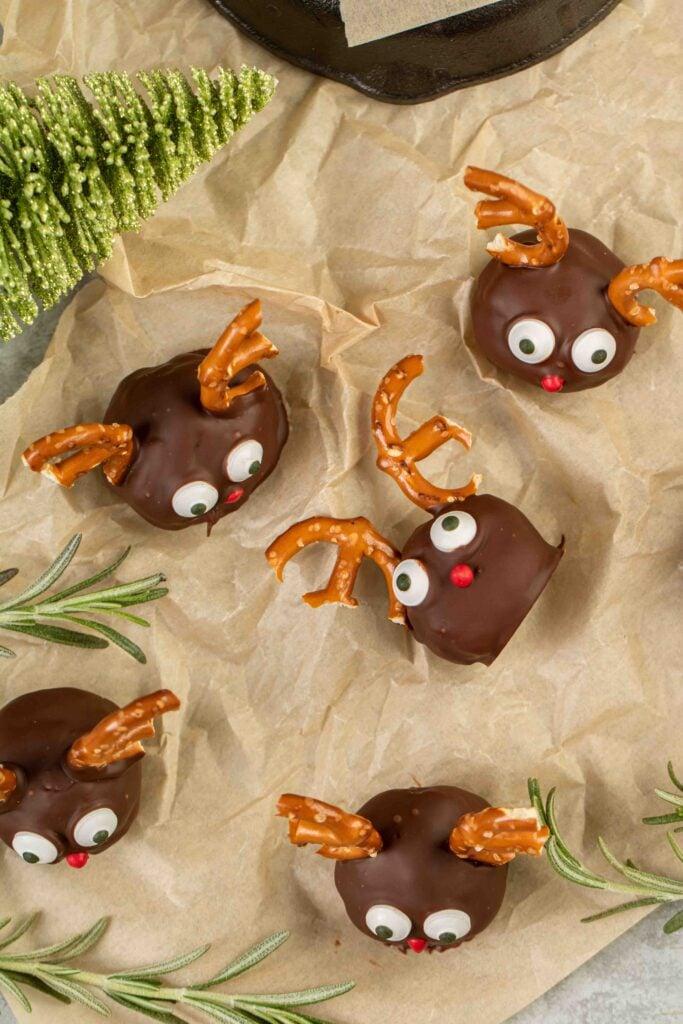 overhead shot of reindeer balls