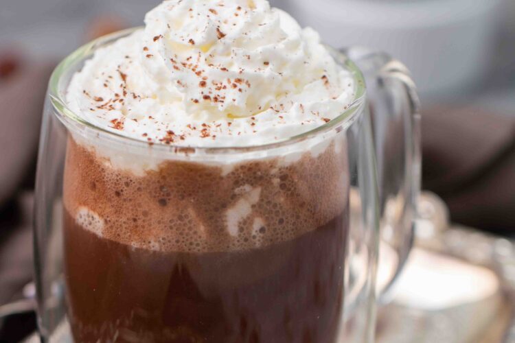 Vegan hazelnut hot chocolate with whipped cream