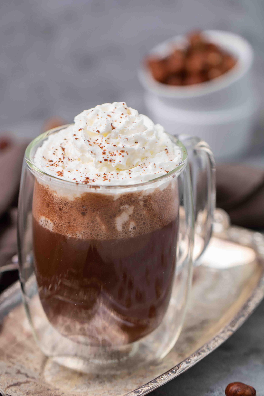 Vegan hazelnut hot chocolate with