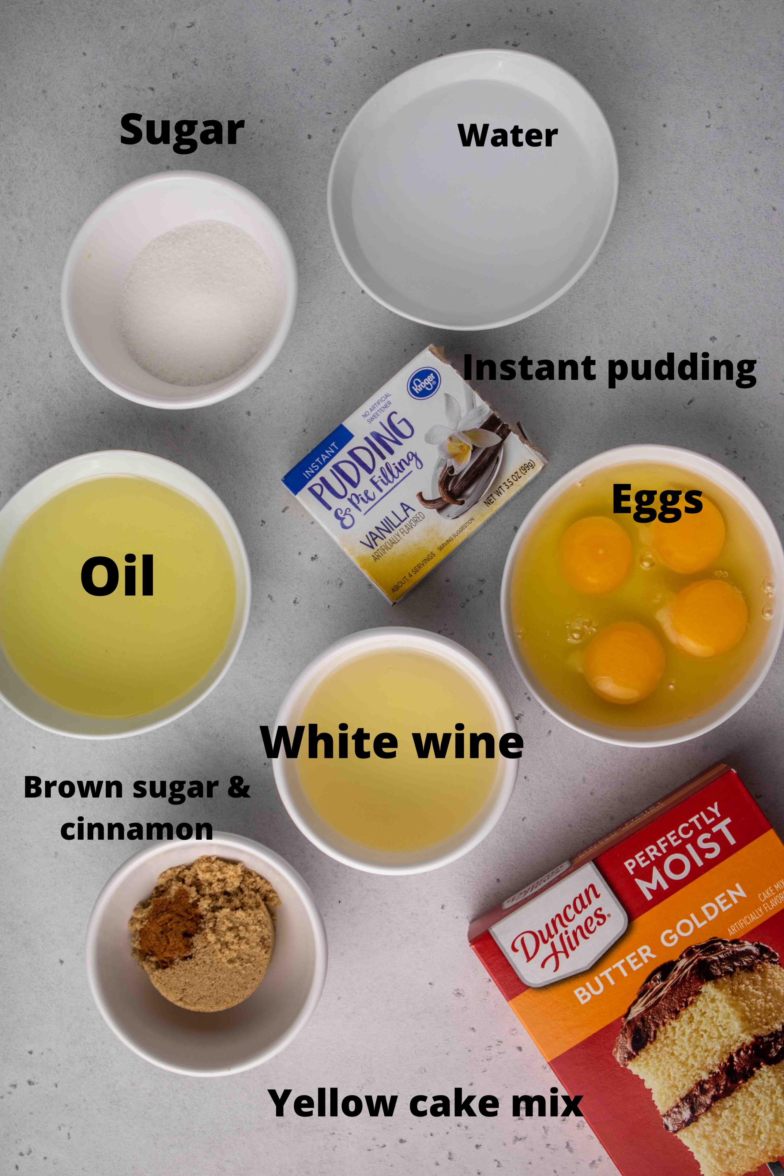 Ingredients for crack cake