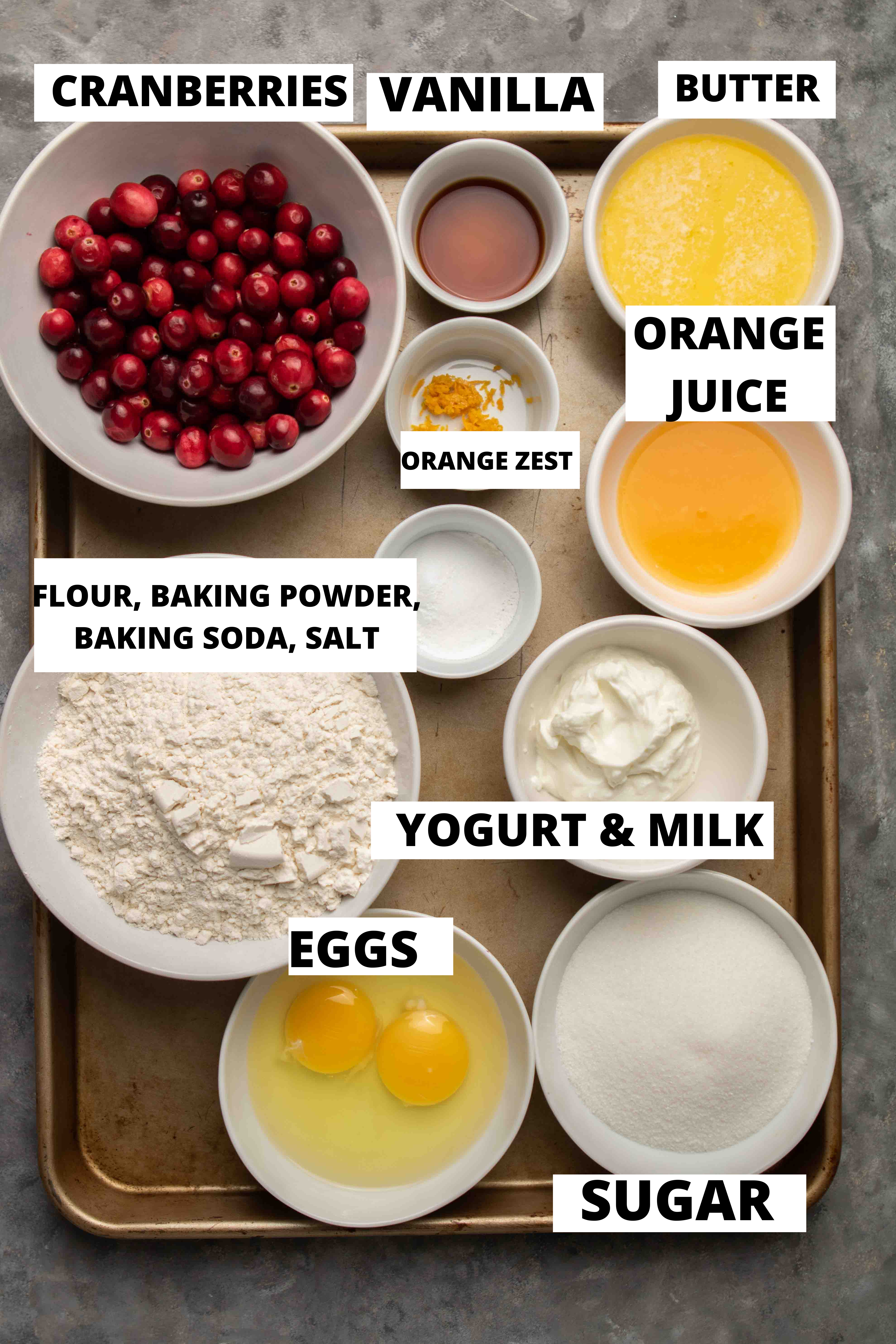 Ingredients for cranberry orange muffins