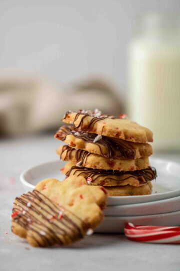 Stack of peppermint shortbread cookies