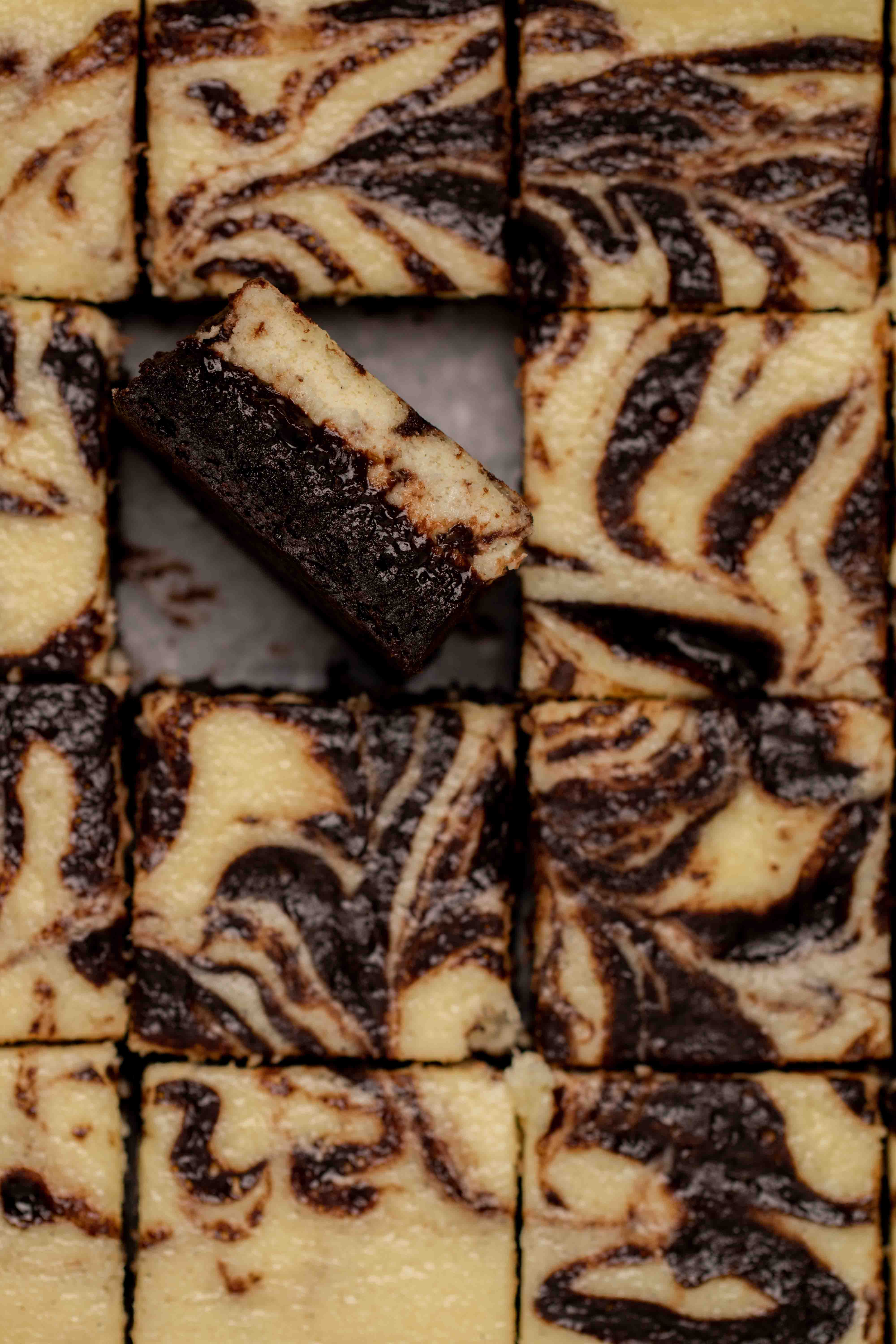 Overhead close up shot of cream cheese brownies