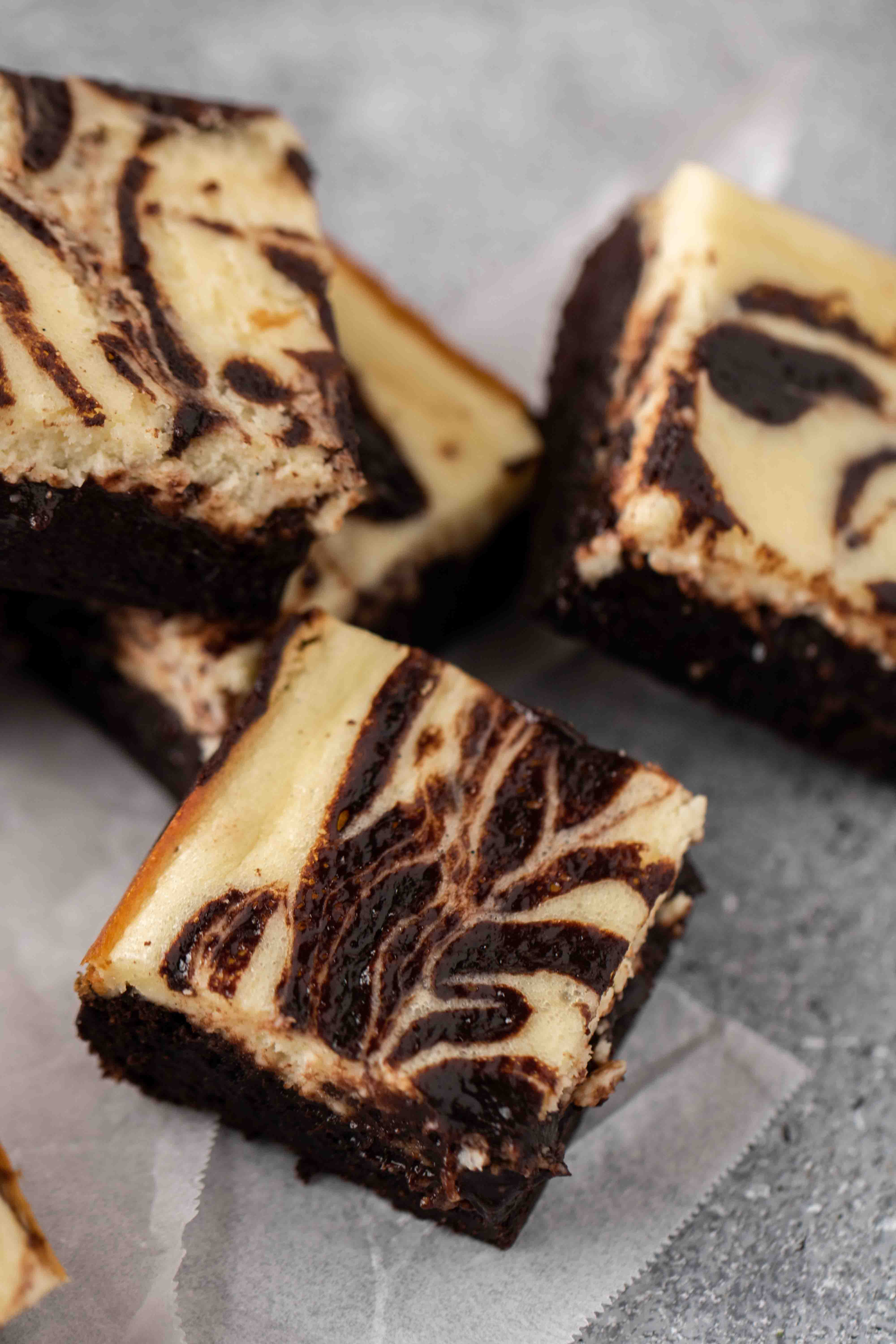 Close up of cream cheese brownies