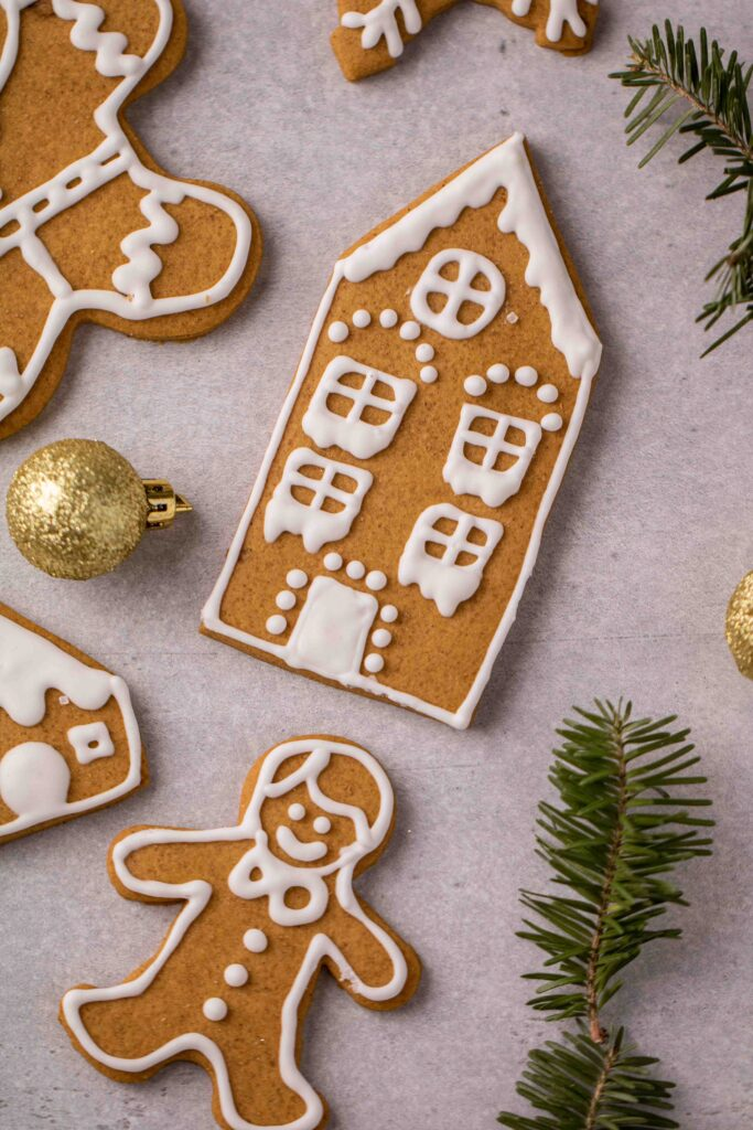 Gingerbread house cutout cookies