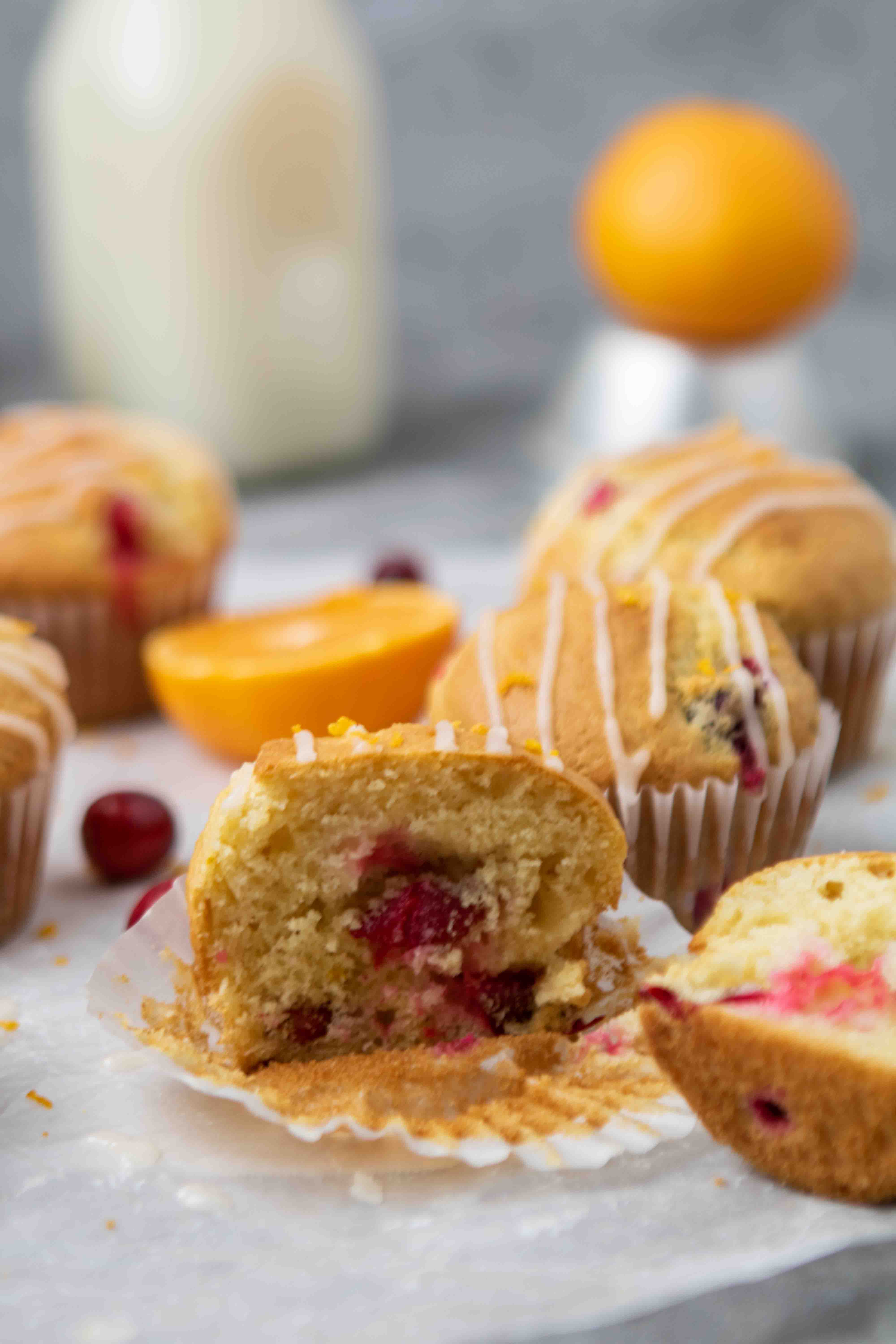 Cranberry orange muffin split in half