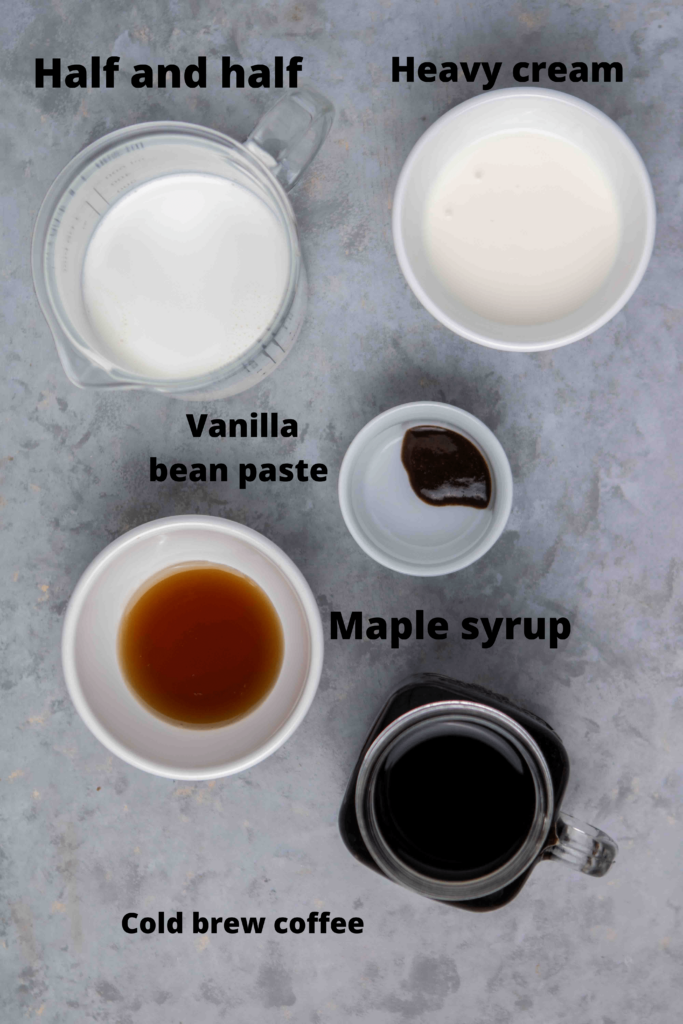 Ingredients for vanilla sweet cream