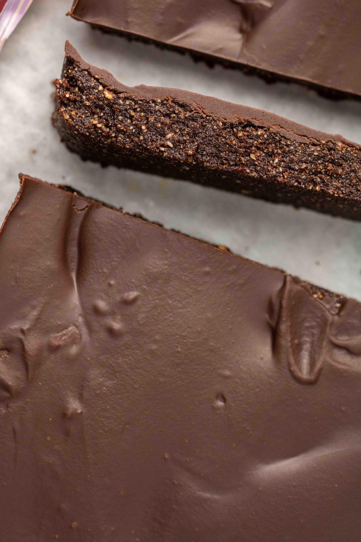 Sliced chocolate hazelnut bar