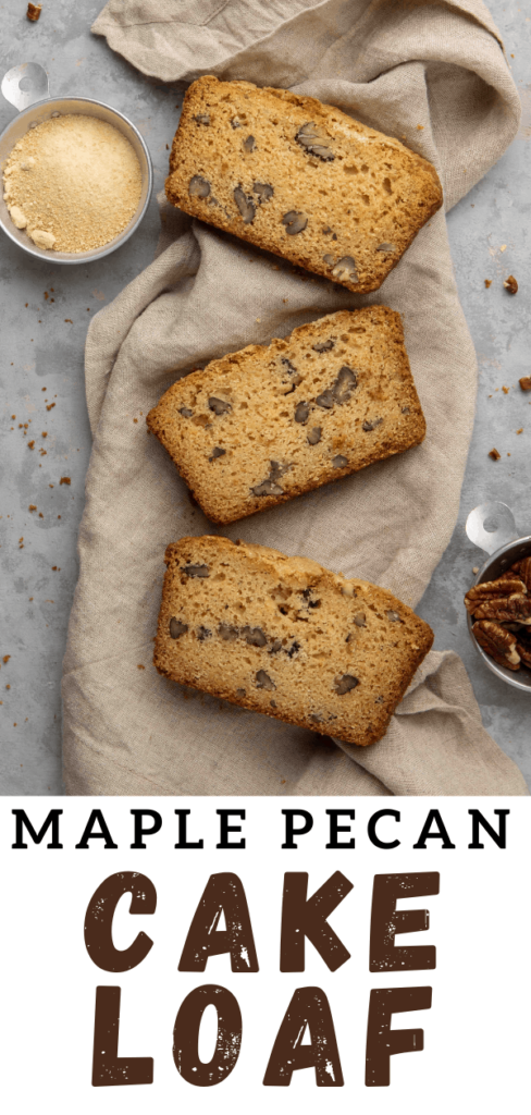 3 slices of pecan maple loaf on a napkin collage for Pinterest
