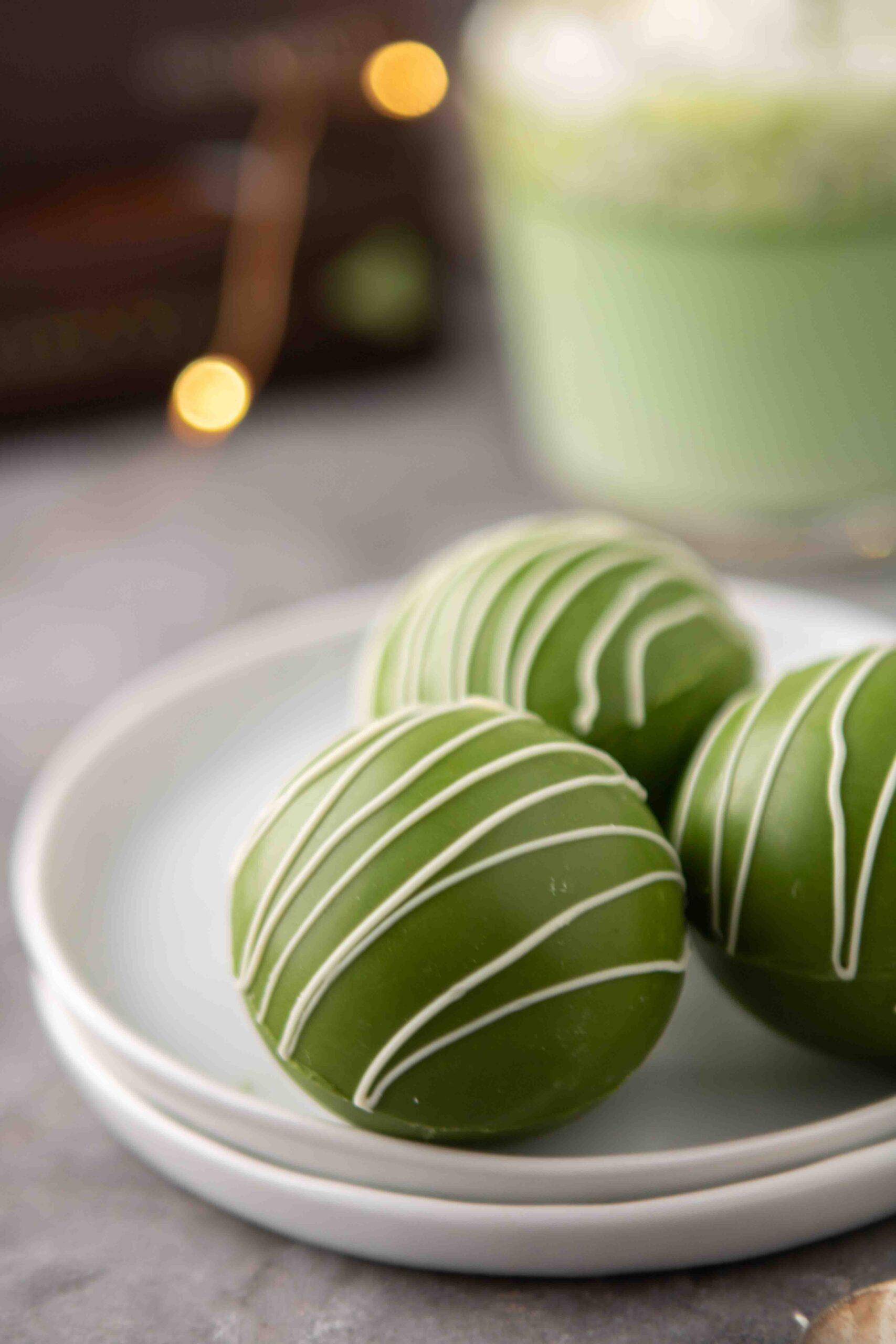 White chocolate green tea matcha hot chocolate bombs