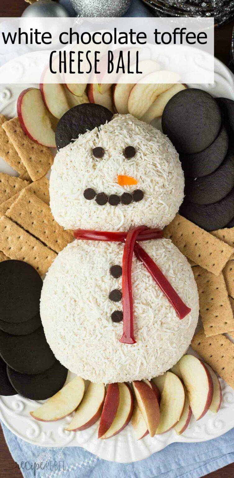 Snowman cheeseball, no bake