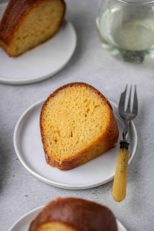 Slice of butter cake bundt cake with wine