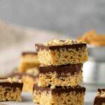 Stack of peanut butter rice krispy treats