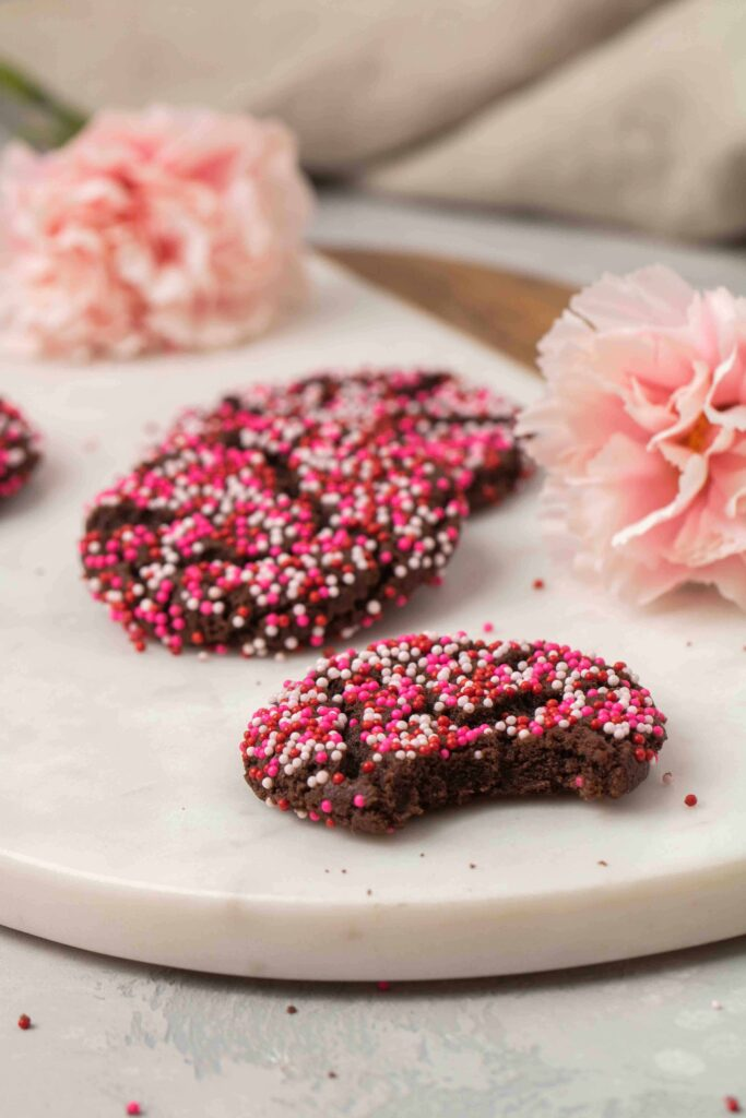 Chewy Valentine's day chocolate crinkle cookies with sprinkles