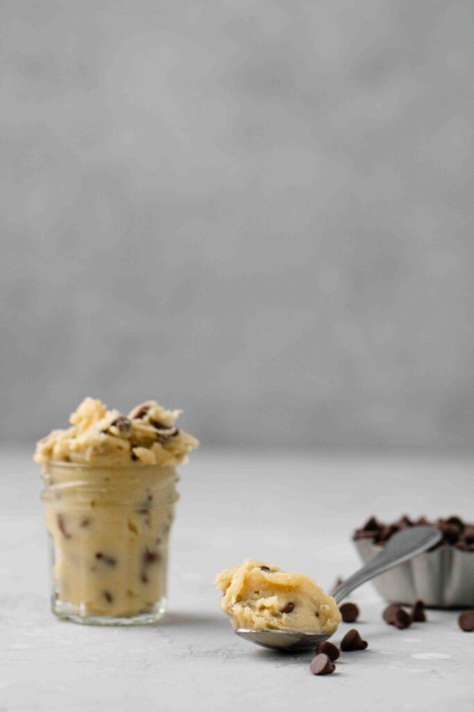 Edible cookie dough in a spoon