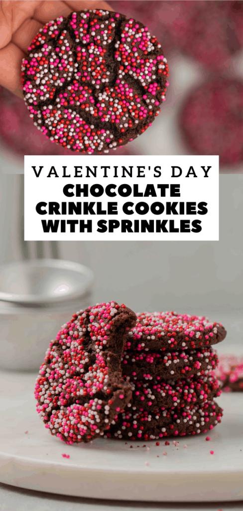 Chocolate crinkle cookies with sprinkles