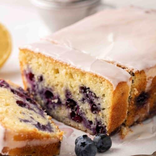 Close up of lemon loaf cake