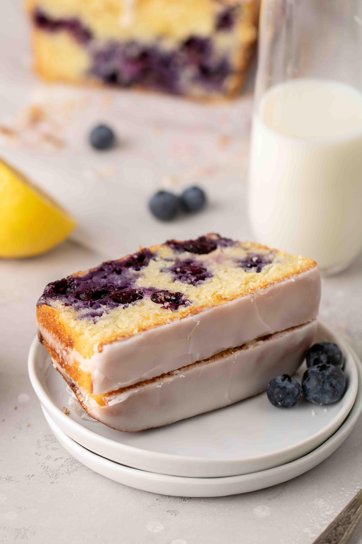 Slices of blueberry lemon loaf