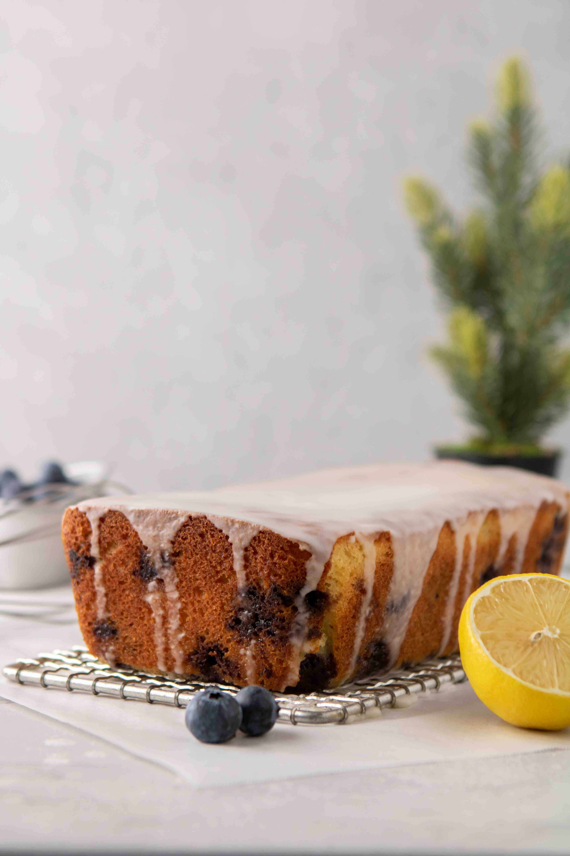 Glazed lemon blueberry loaf cake
