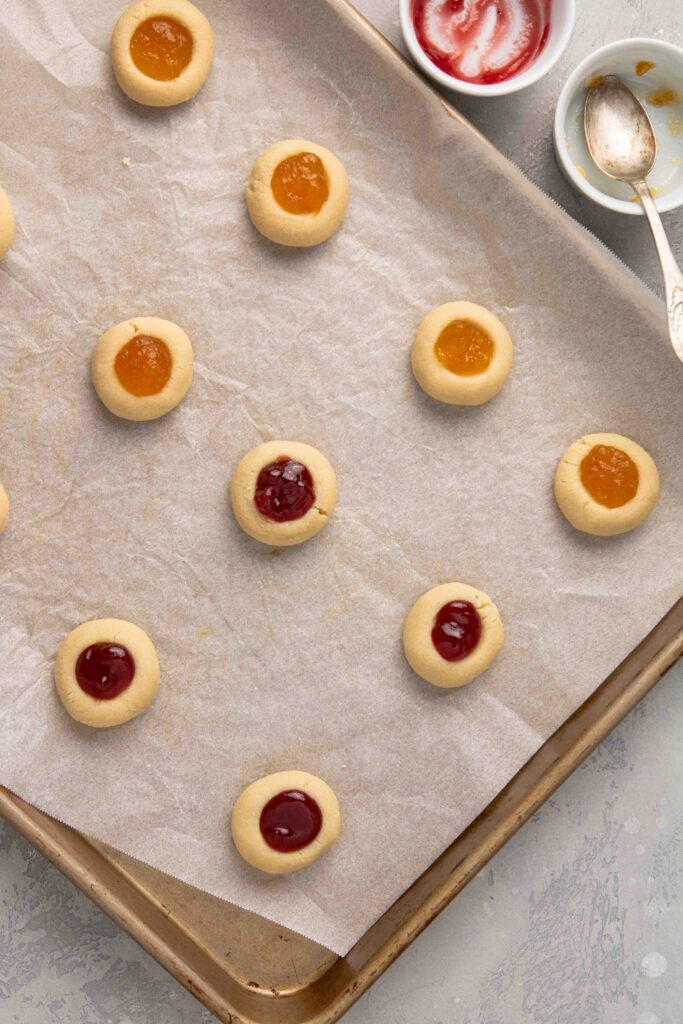Bake the jam filled cookies in the oven