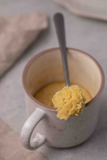 Mug sugar cookie in a spoon to see texture