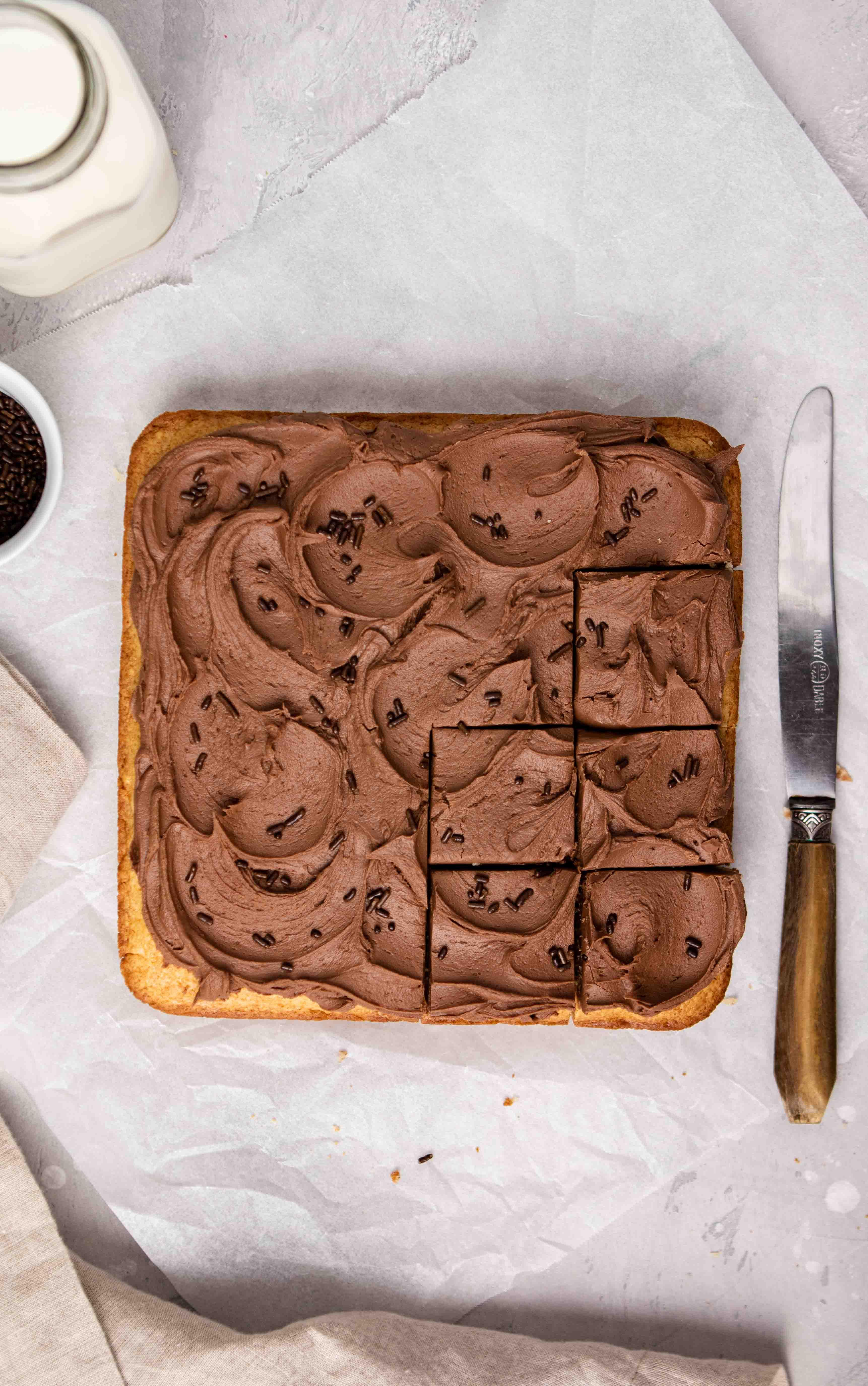 Overhead shot of pancake mix cake