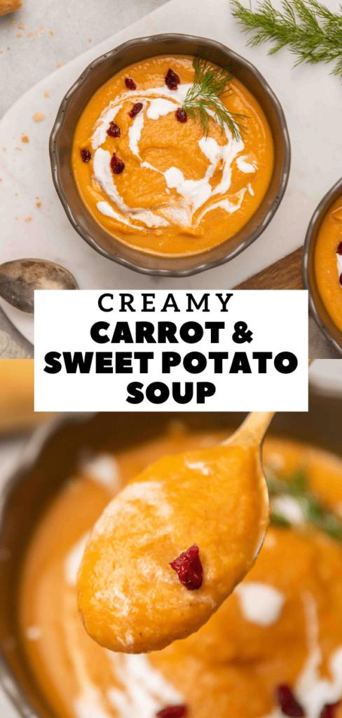 Creamy carrot and sweet potato soup recipe