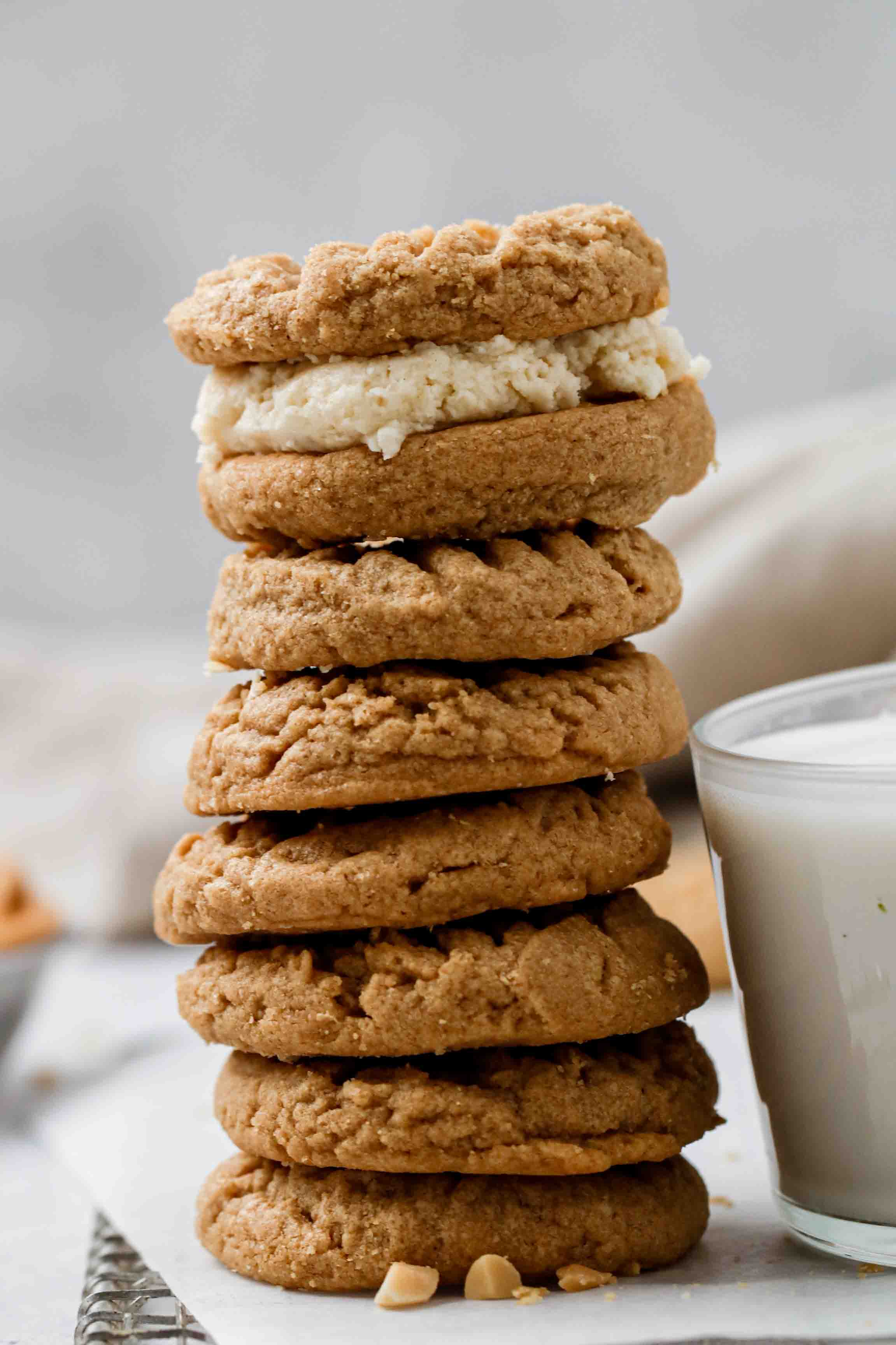 Soft peanut butter cookie stack