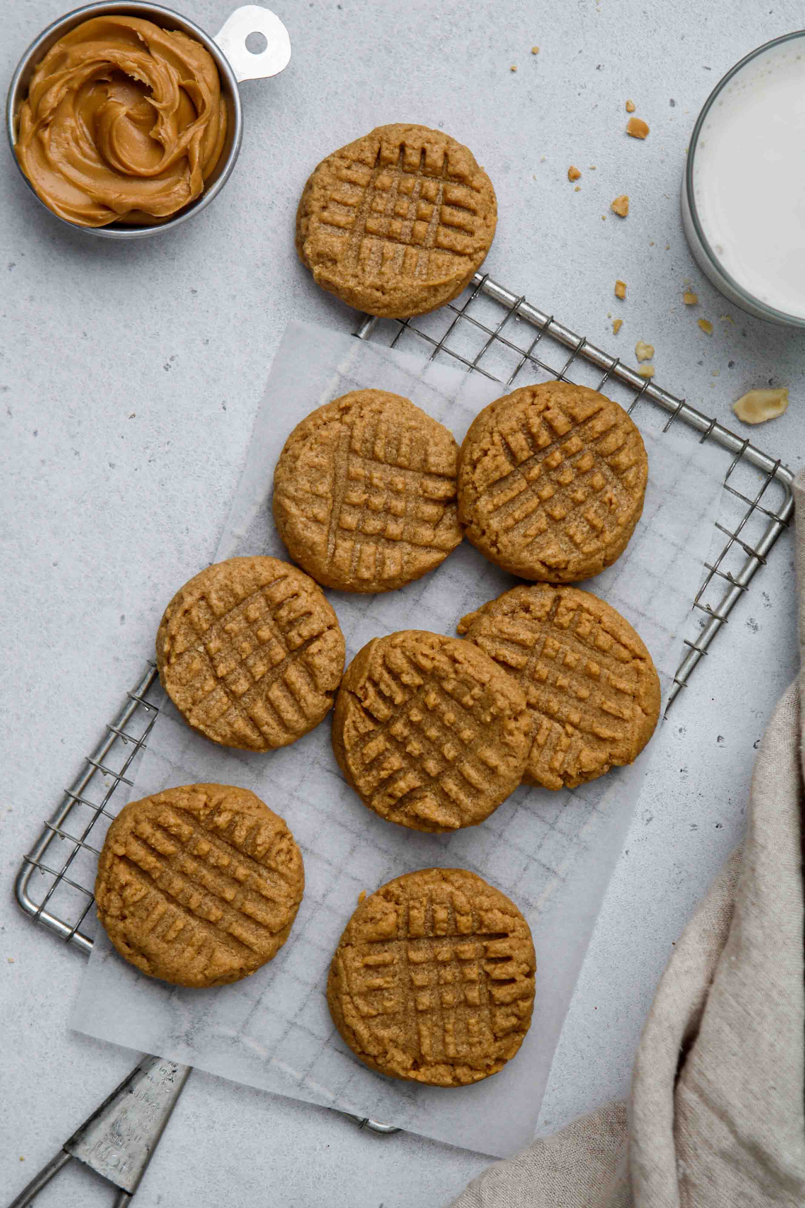 Flat lay peanut butter cookie photography