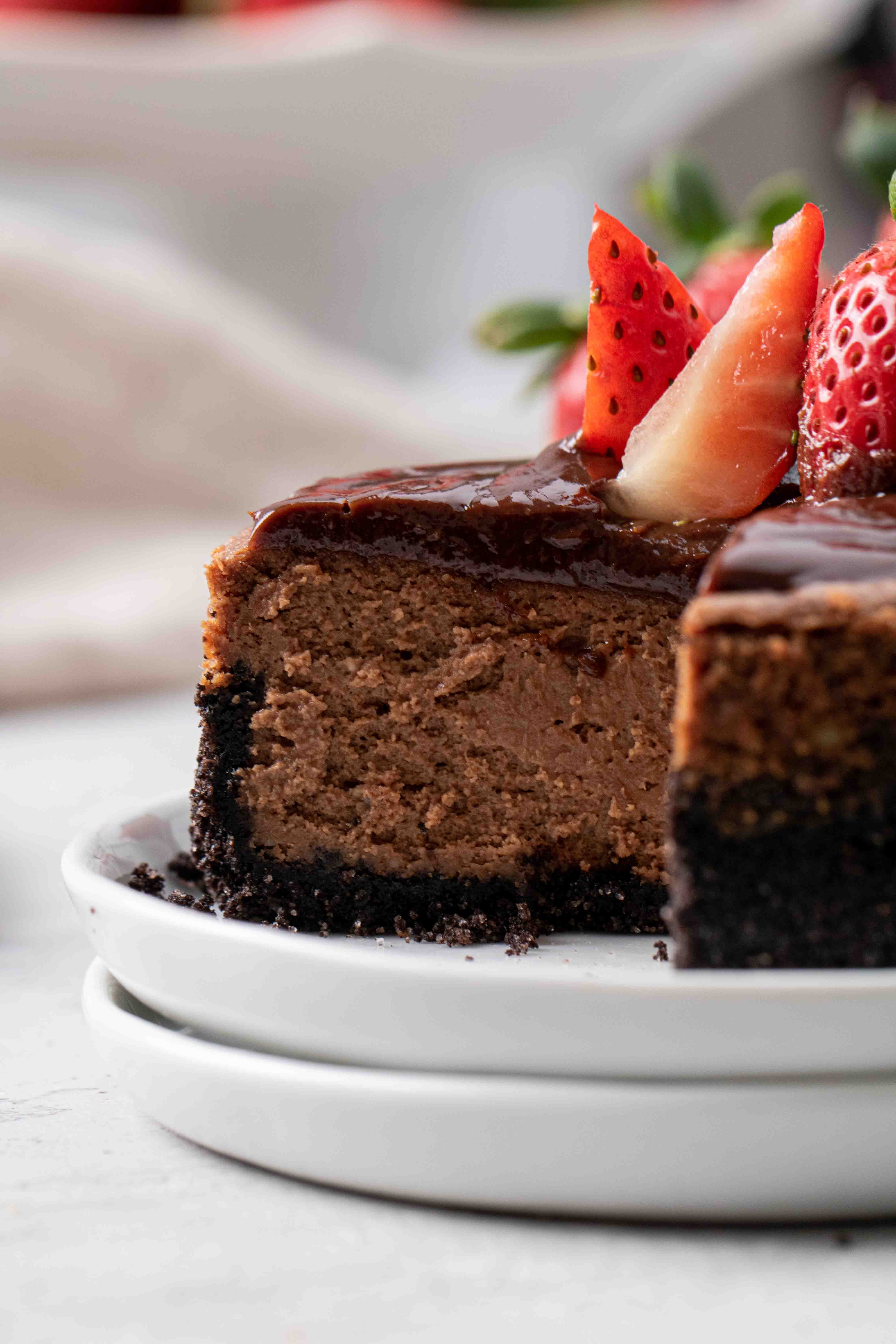 Strawberry topping on chocolate cheesecake