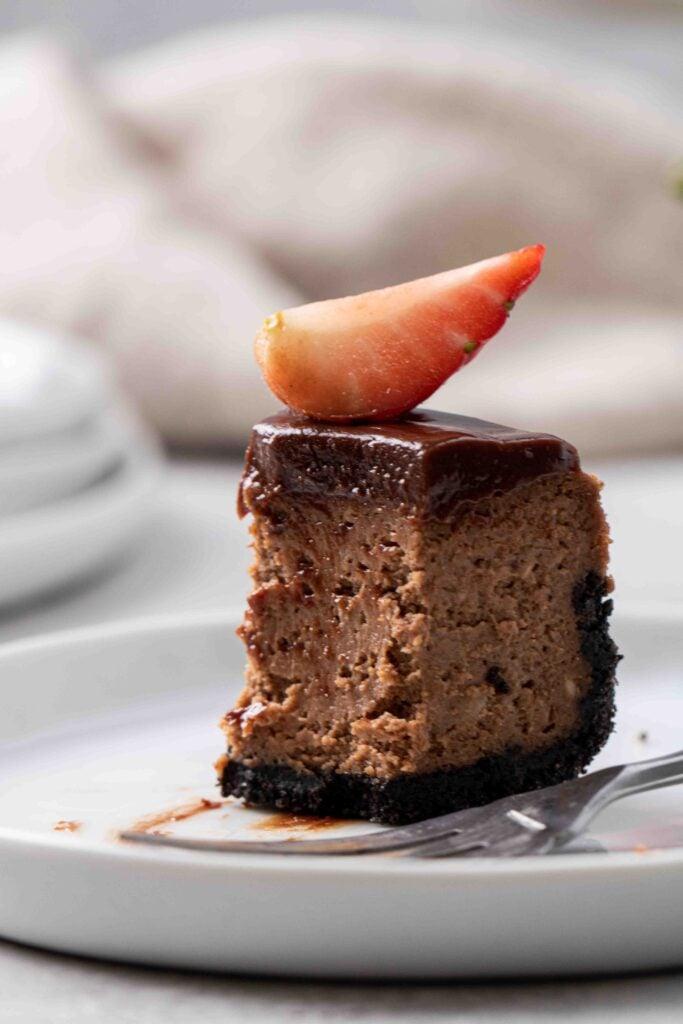 Slice of mini chocolate cheesecake