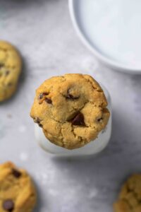 Overhead shot of air fryer chocolate chip cookies