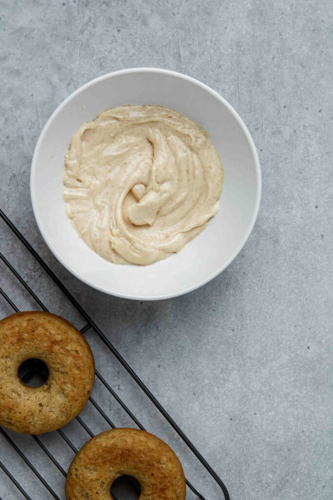 Glaze the banana donut with brown butter glaze