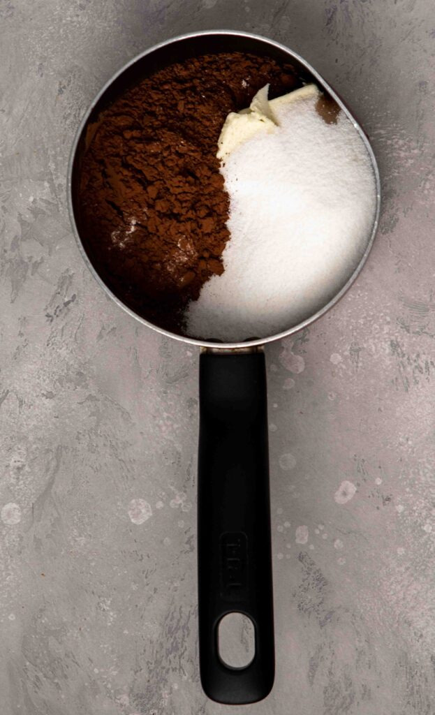 Cook the sugar, butter, and cocoa powder for the brownies