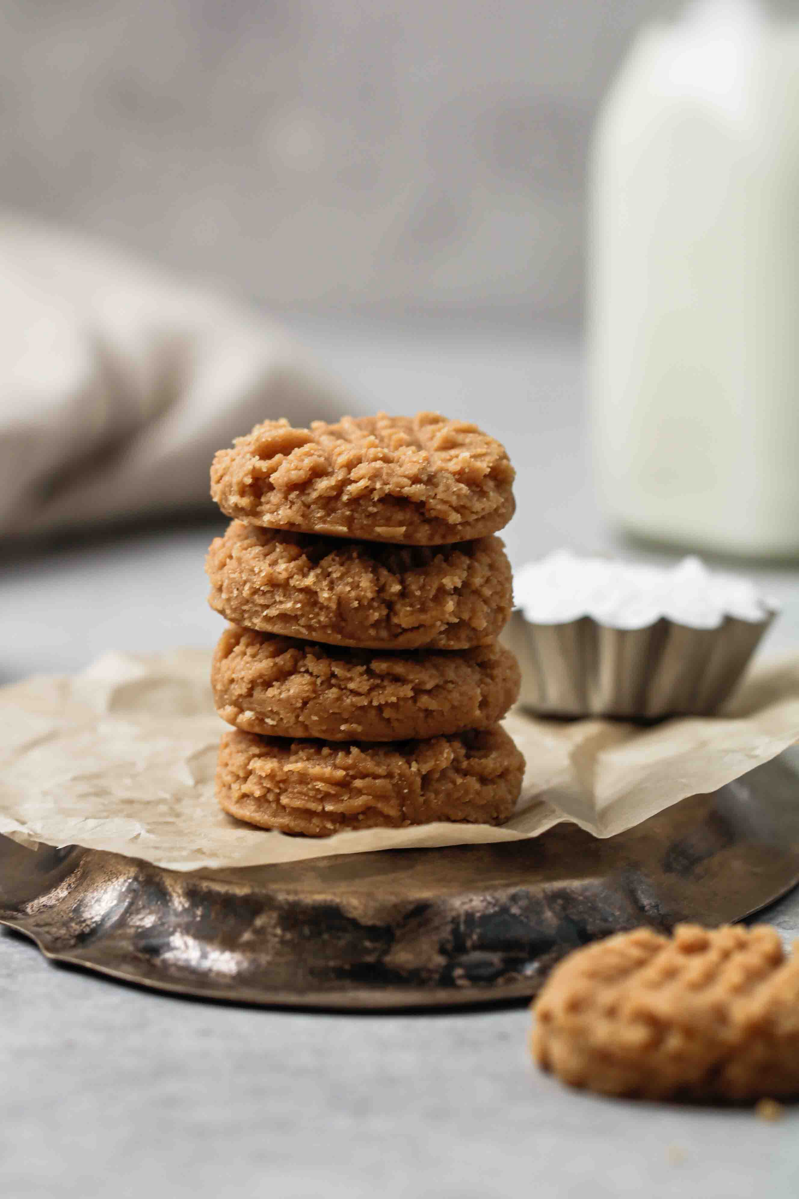 Stack of raw vegan peanut butter cookies