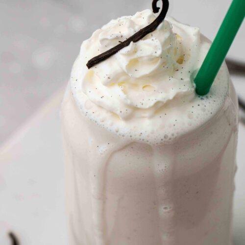 Close up of vanilla bean frappuccino