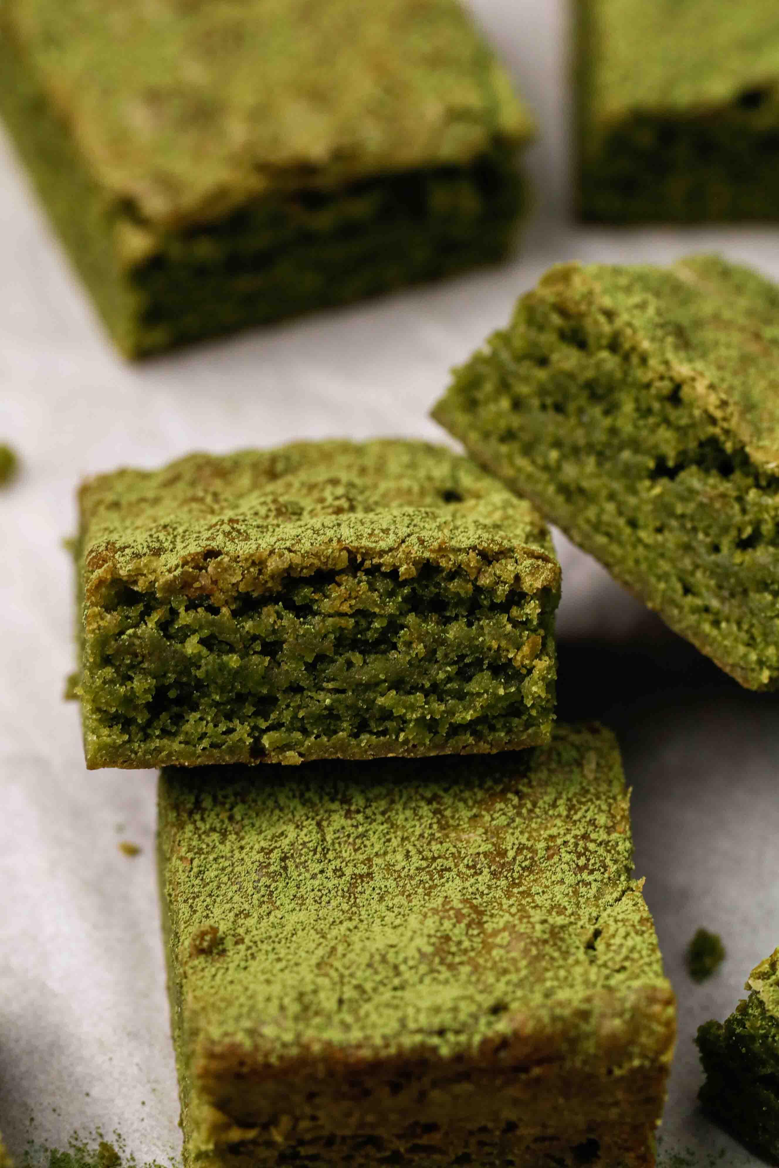 Green tea brownie slices