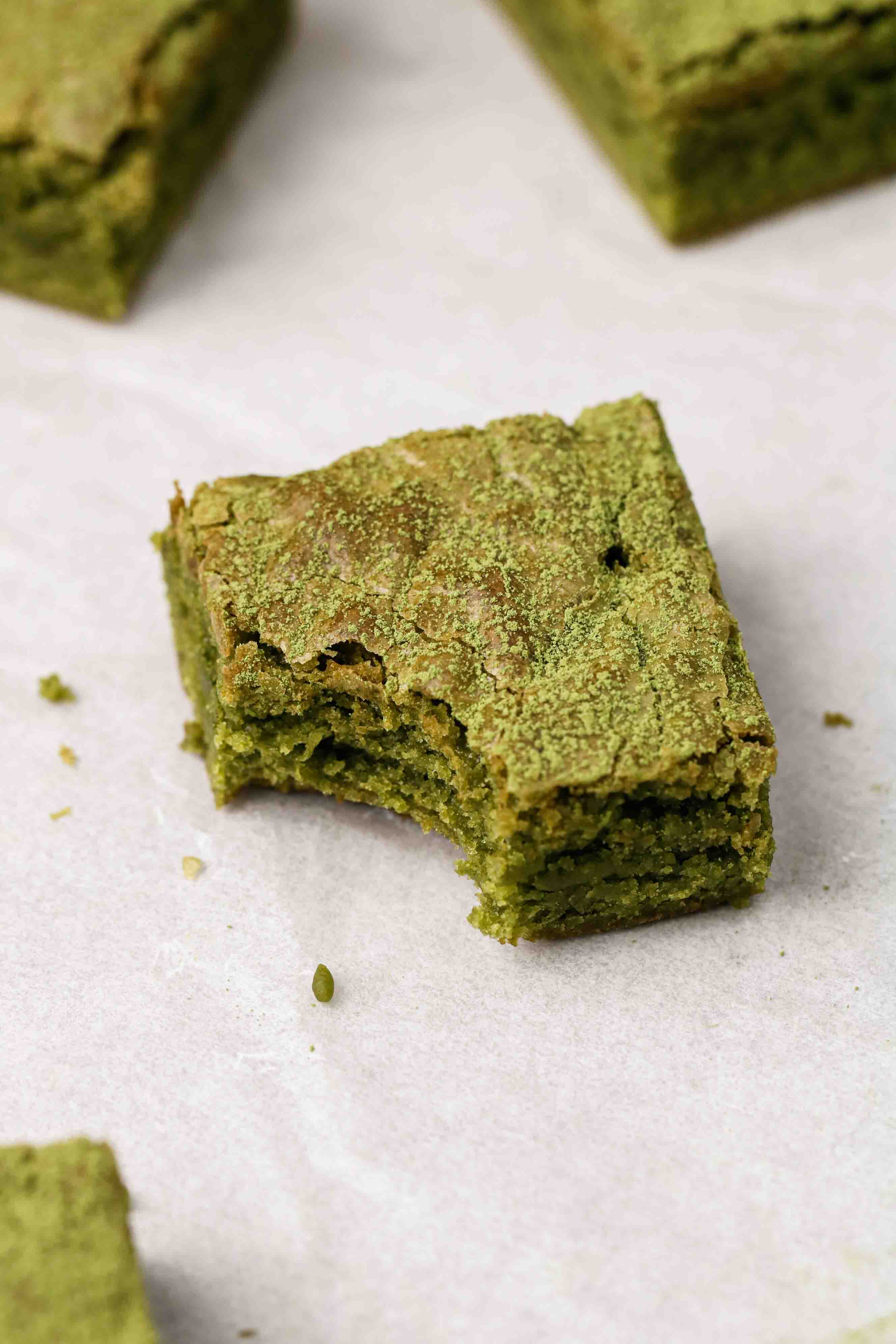 fudgy matcha brownies with a crinkly top