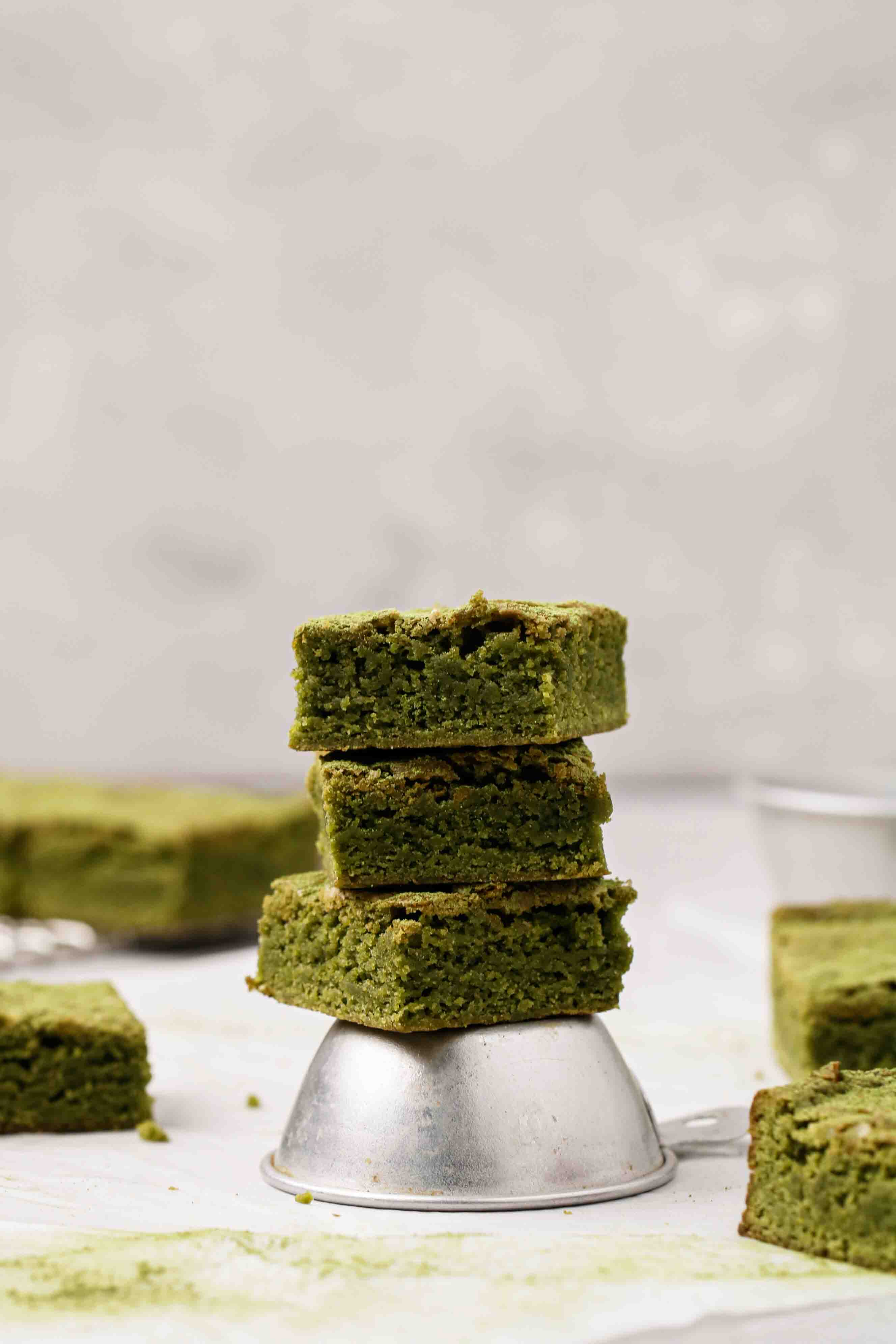 matcha brownie slices stacked