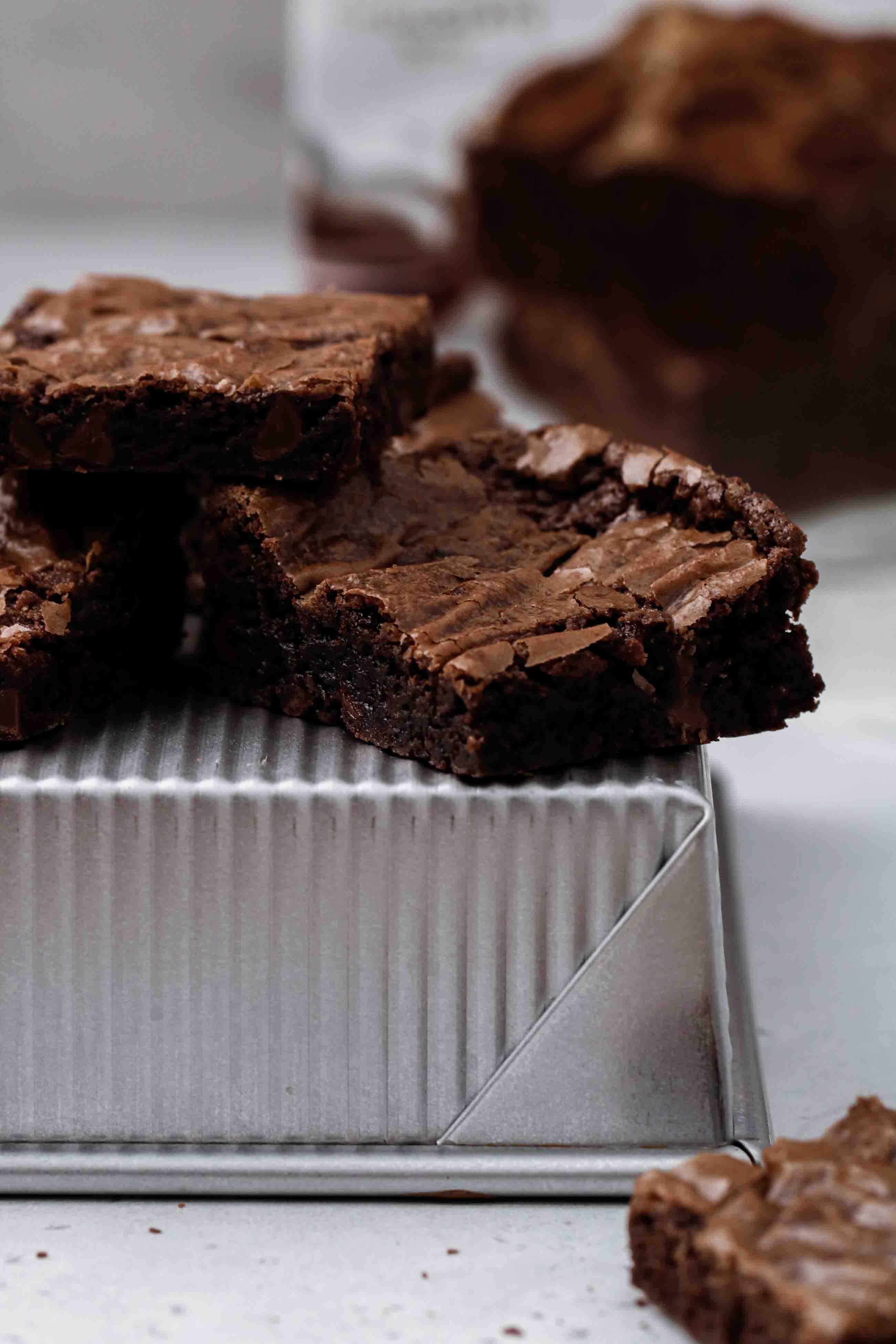 Close up of boxed brownie with chocolate chips