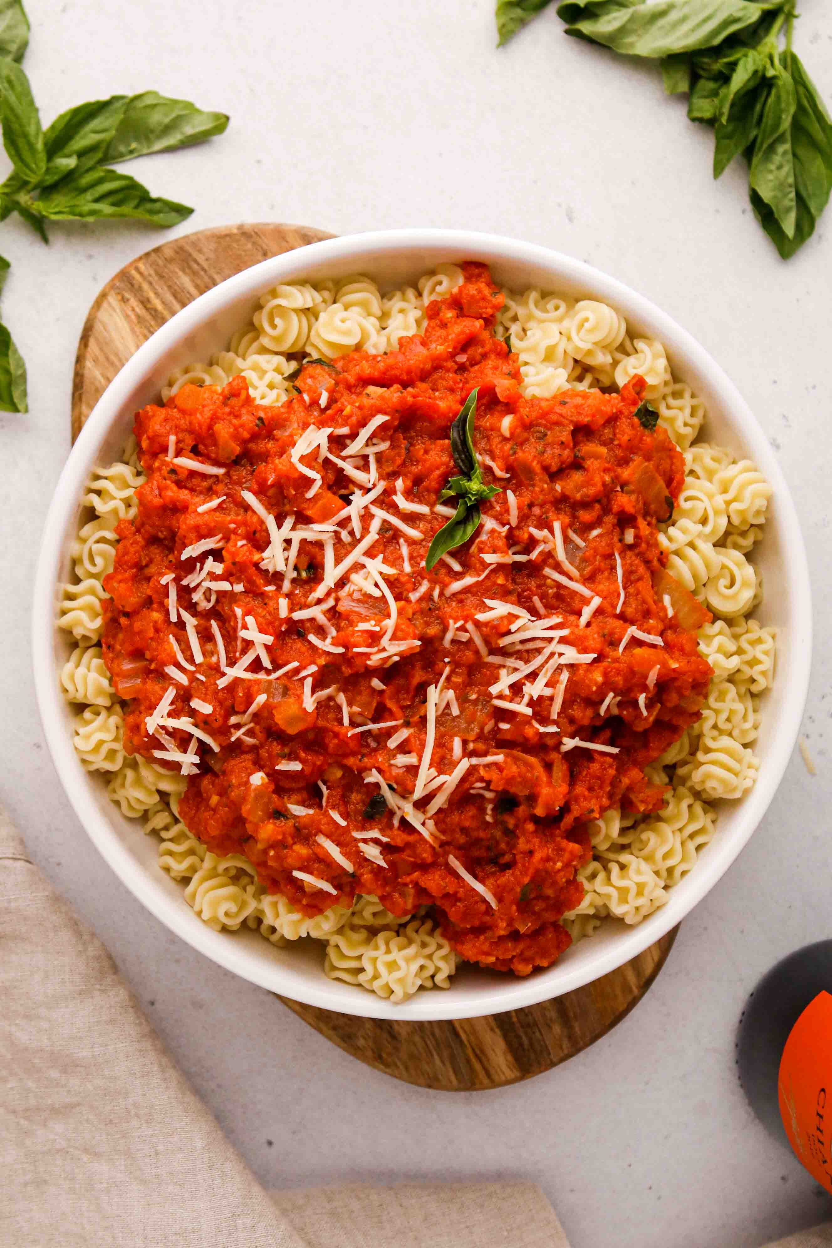 Overhead shot os pasta with marinara sauce
