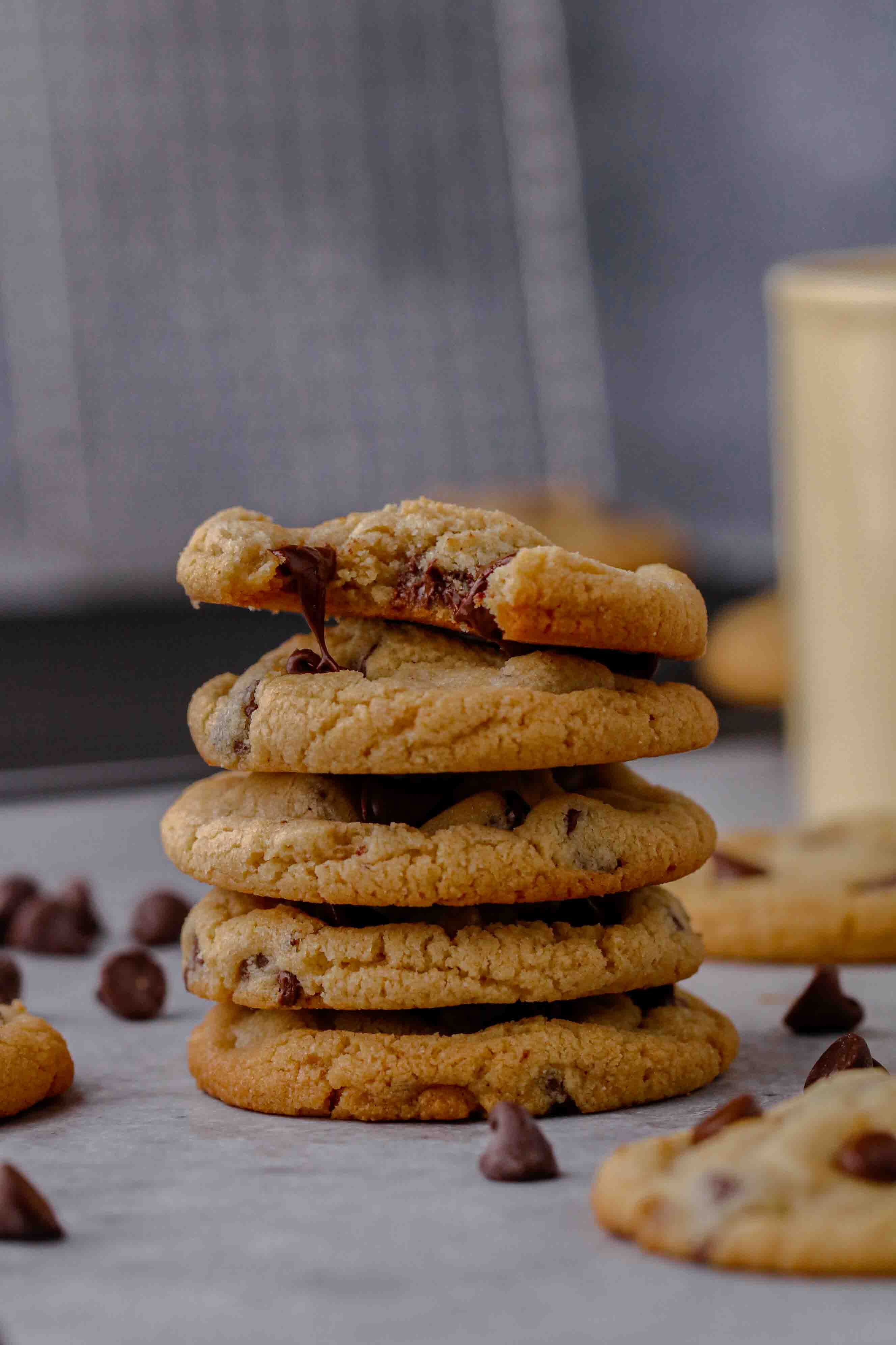 Almond flour chocolate chip cookie stack