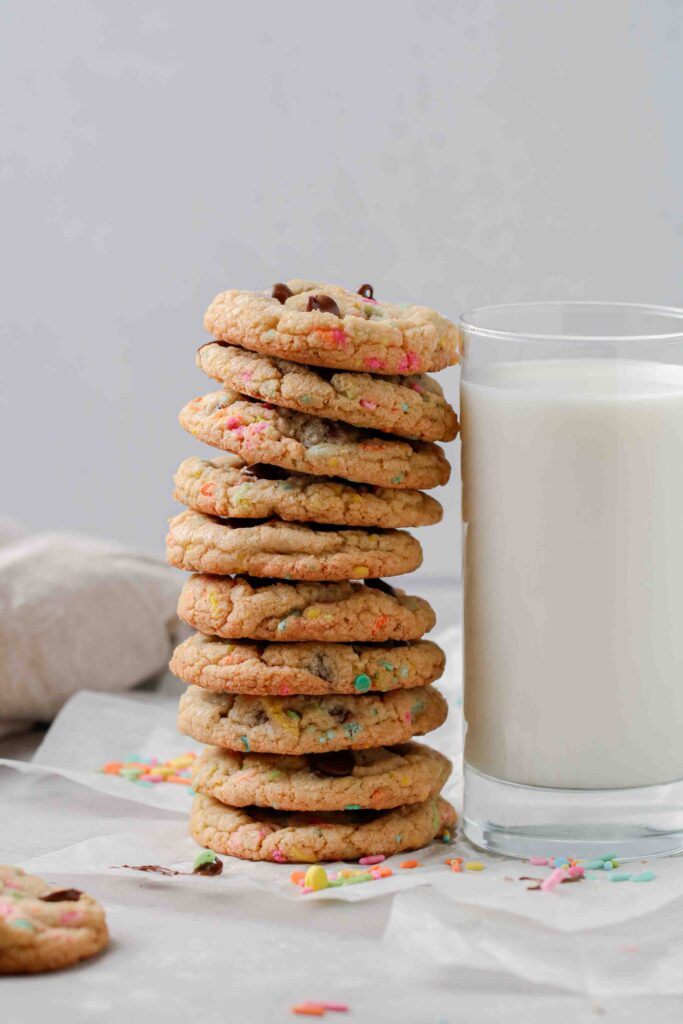 Stack of Easter chocolate chip cookies